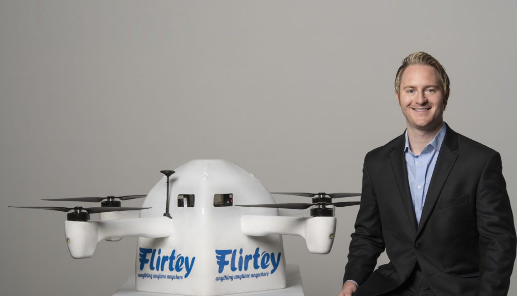 Flirtey Eagle with Flierty's Founder and CEO, Matthew Sweeny